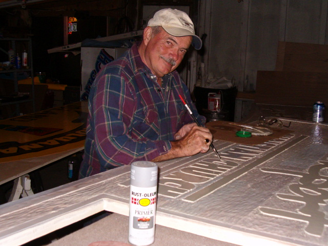 Gary Cowan Sr.  Hard at work on another wood masterpiece